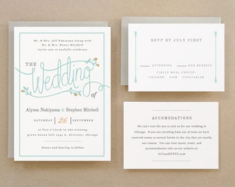 Printable Wedding Invitation Template | INSTANT DOWNLOAD | Garden | Word or Pages | Easy DIY | Editable Artwork Colors
