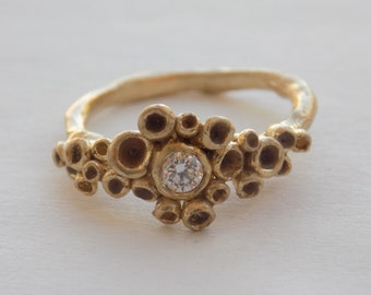 Gold and Diamond handmade engagement ring