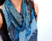 Hand Painted Silk Scarf -...