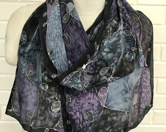 Purple Patchwork - Hand Painted Silk Scarf - Wearable Art - 14 x 72 inches