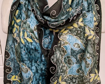 Blue Green Flow - Hand Painted Silk Scarf - Wearable Art - 14 x 72 inches
