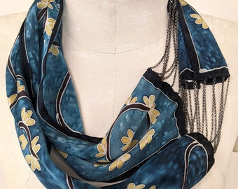 Gold Leaves on Sky Blue - Hand Painted Silk Scarf / Necklace - Wearable Art