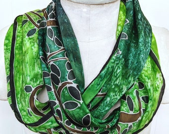 Neon Green Spiral Leaves - Hand Painted Silk Scarf - Wearable Art - 14 x 72 inches