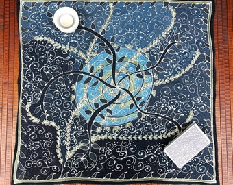 Navy Star-Leaf Mandala - Hand painted silk tarot cloth, altar cloth, square scarf - 25 x 25 inches, crepe de chine silk