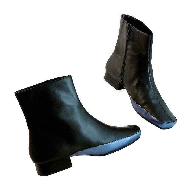 1a7f7de0d6812 Womens Black Zipper Ankle Booties Leather // Size 8 // Hand Painted  Metallic Dark Evening Blue // Super Hero Hipster Glam Aerosoles