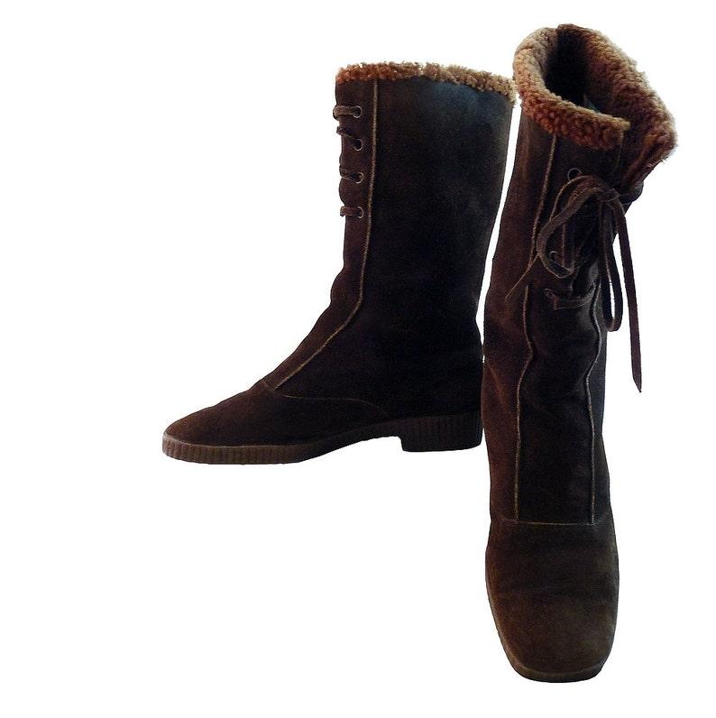 8acf66d528169 Vintage 70s Panzl Austrian Calf Boots w Laces // Women 7M // Robin Hood  Brown Suede w Wool Fleece Lining // Woodland Apres Ski Rustic