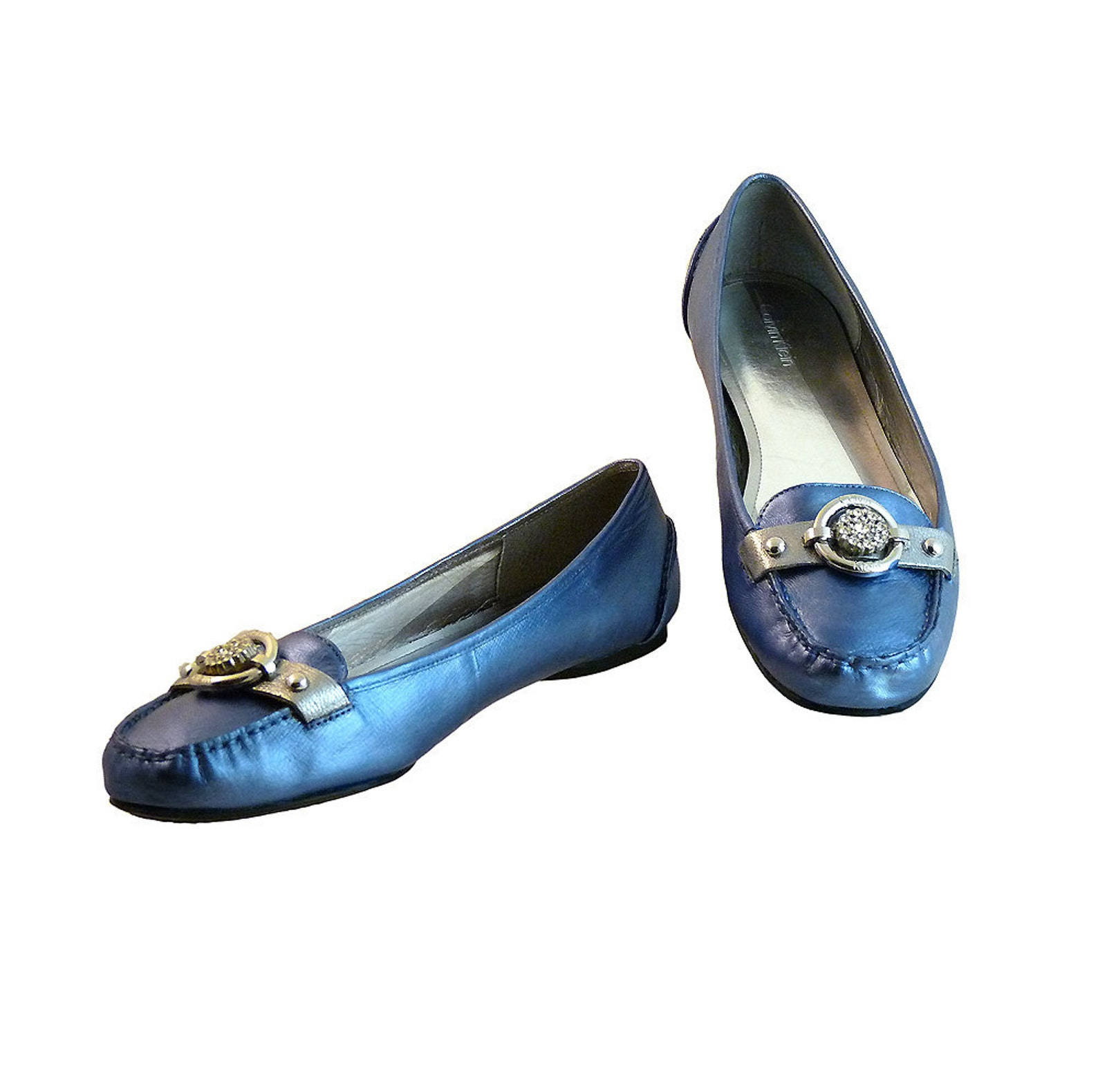 ballet flats loafers metallic blue and silver loafers w vintage rhinestones // size 10 m calvin klein leather w silver // preppy