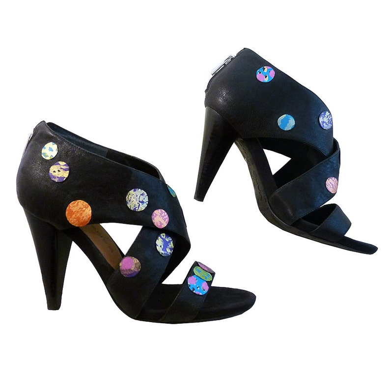 69f49a1dedf10 Seeing Spots Black Ankle Booties // High Heeled Sandals // Size 9M Spirit  of Betsey Johnson // Hand Painted w Back Zipper // Costume Party
