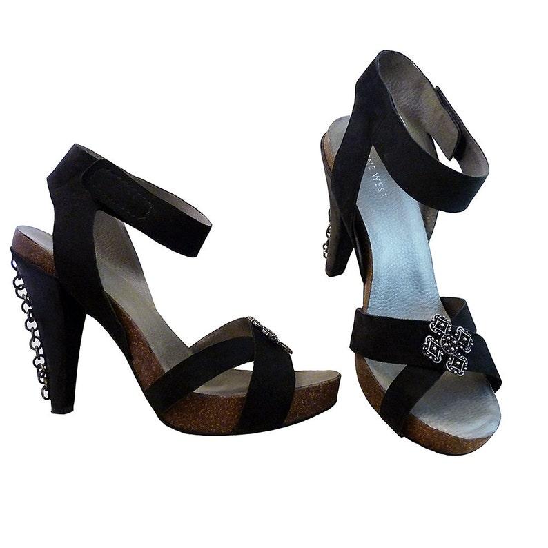 fa74f7c192993 Industrial Goth Sandals 5 Inch High Heels // Black Leather w Cork, Metal //  Size 10M // Platform w Ankle Straps // Nine West Hand Decorated