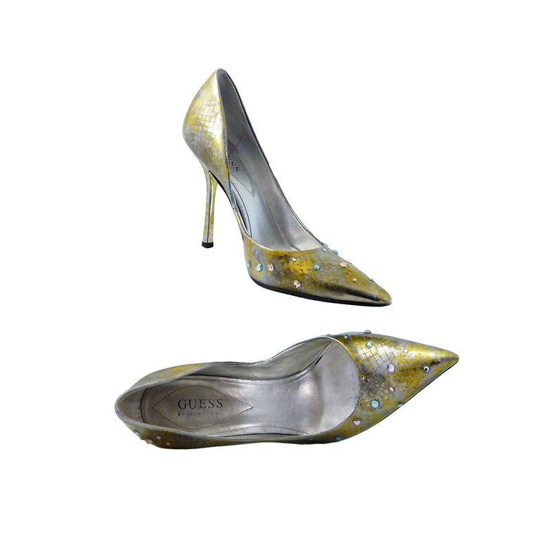 135819cc16e Stilettos Wedding High Heels by Guess    Metallic Silver Gold