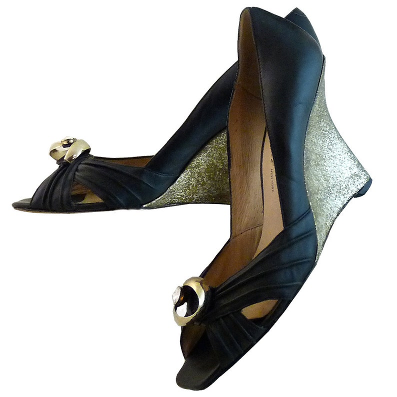 6aad90521343 Black and Gold Extreme Wedge High Heel by Kenneth Cole New York    Size 9  1 2 M    Gold and Huge Rhinestone Embellishment    Avant Garde