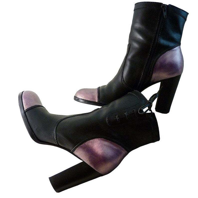 c798b3989b4c Metallic Lavender on Black Short Boots // Women Size 8 1/2 M | Etsy