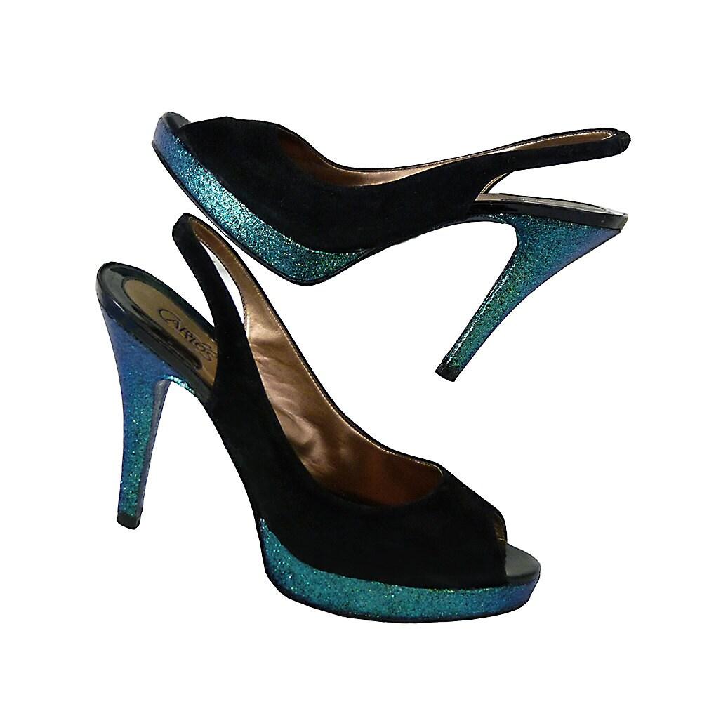 Platform Peep Toe High Heels Black Suede And Iridescent Blue Etsy Glamour Green Purple Glitter Carlos Santana Size 81 2 M Evening Lbd
