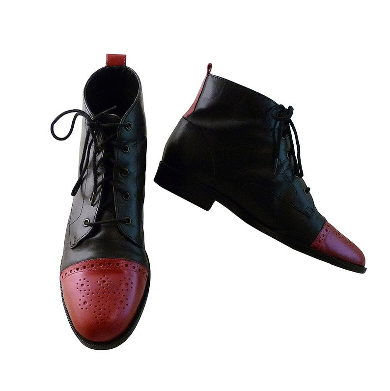 3746074e40fd5 Vintage 90s Black and Red Lace Up Ankle Boots // Size 7M // Brazil Leather  Brogues // Hand Painted Red Toe Caps // Mary Poppins Fanciful Fun