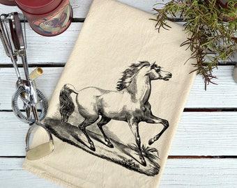Flour Sack Towel, Flour Sack Dish Towel, Flour Sack Kitchen Towels, Tea Towels, Kitchen Towel, Dish Towels, Horse lover gift, White Stallion