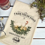 Flour Sack Towel, Farmhouse Dish Towel, Flour Sack Dish Towel, Flour Sack Kitchen Towel, Tea Towels Flour Sack,  Farm Fresh Eggs w/Chicks