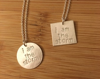 "Election 2016 ""i am the storm"" sterling silver necklace -- stamped handmade politics election democrat feminist 2016 Clinton Obama Booker"