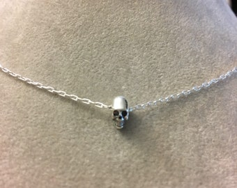 Tiny skull sterling silver necklace -- tiny things murderino mfm my favorite murder miniatures