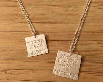 "Election 2016 ""women make history"" sterling silver necklace -- stamped handmade politics democrat feminist 2016 Clinton Obama"