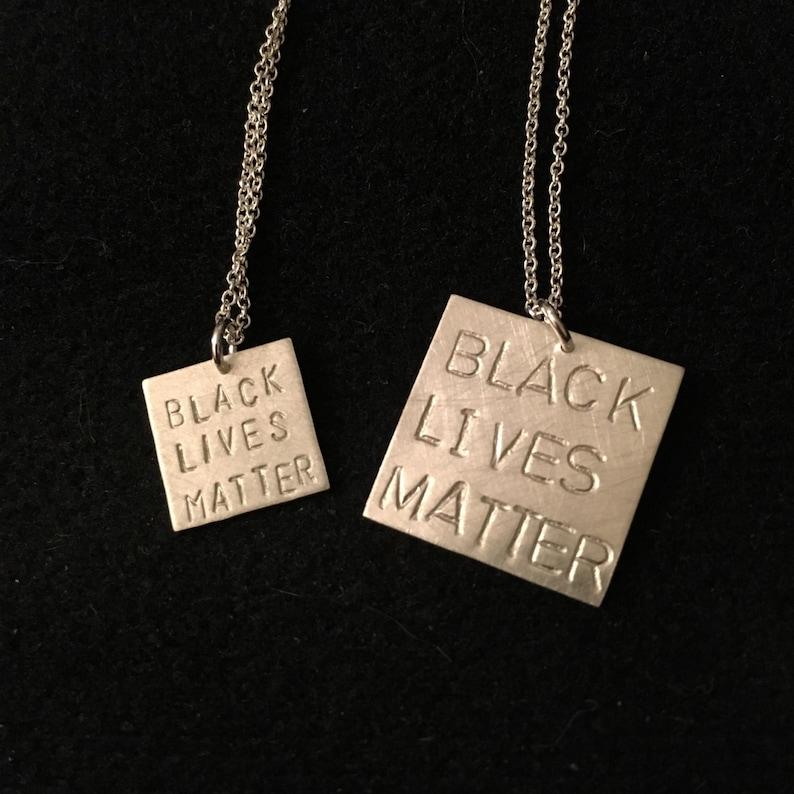 BLACK LIVES MATTER sterling silver necklace  stamped image 0