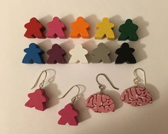 Meeples earrings --choice of 10 colors! Sterling silver ear wires brains gaming gamer geek chic cute nerdy fun jewelry