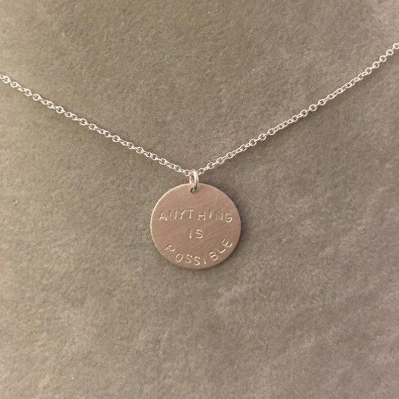Anything Is Possible hand stamped necklace  sterling silver image 0