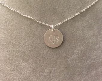 Heart and pawprint Sterling silver hand stamped handmade necklace --love cats dogs pets animals loss
