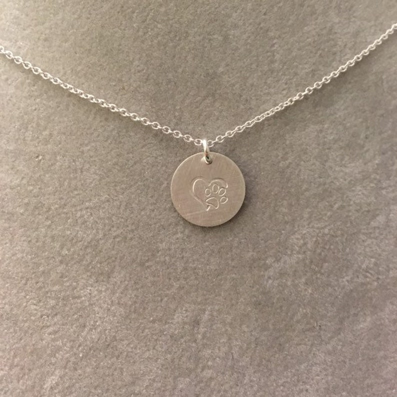 Heart and pawprint Sterling silver hand stamped handmade image 0