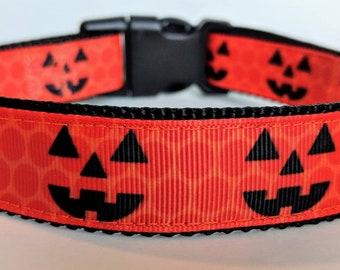 Jack O' Lantern Dog Collar / Pumpkin Dog Collar / Halloween Dog Collar