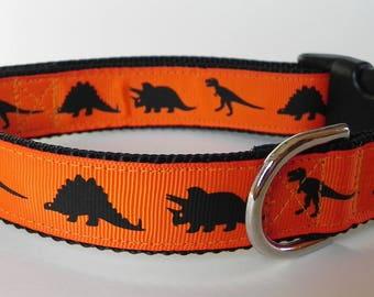 Orange Dinosaur Dog Collar