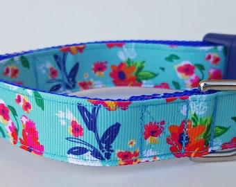 Turquoise Flowers Dog Collar / Summer Dog Collar / Floral Dog Collar
