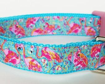 Flamingo Dog Collar / Summer Dog Collar / Beach Dog Collar