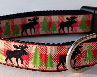Moose Plaid Dog Collar / Christmas Dog Collar / Winter Dog Collar