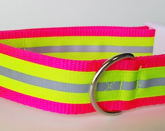 Yellow Reflective Safety 1.5 Inch Wide Dog Collar