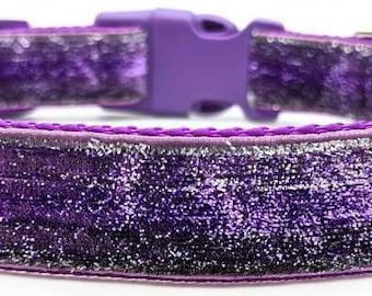Purple Ombre Sparkle Dog Collar / Purple Silver Ombre / Glitter Bling Dog Collar