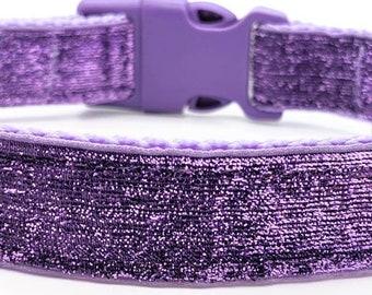 Lavender Sparkle Dog Collar / Light Purple Glitter Bling Dog Collar