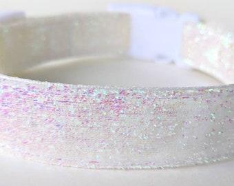 White Iridescent Sparkle Dog Collar / Icicle Dog Collar / Wedding Sparkle Dog Collar