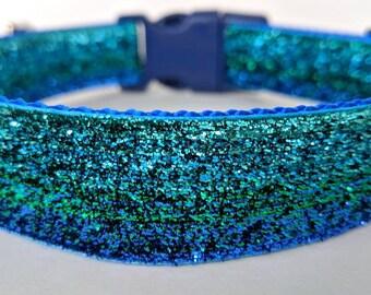 Blue Green Ombre Sparkle Dog Collar / Mermaid Sparkle Dog Collar