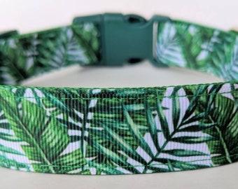 Palm Leaves Dog Collar / Summer Dog Collar / Beach Dog Collar