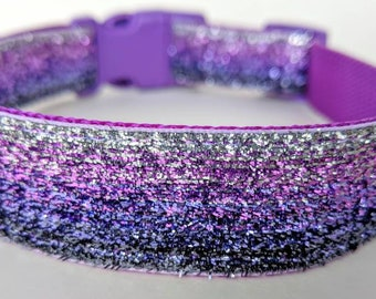 Purple Ombre Sparkle Dog Collar / Purple Silver Ombre Dog Collar