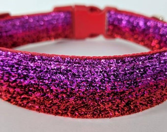 Red Pink Ombre Sparkle Dog Collar / Red Pink Fade Dog Collar