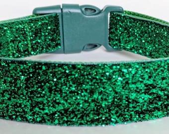 Emerald Green Sparkle Dog Collar / Christmas Sparkle Dog Collar
