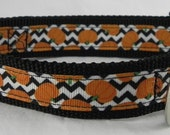 Chevron Pumpkin Dog Collar Fall Pumpkin Dog Collar