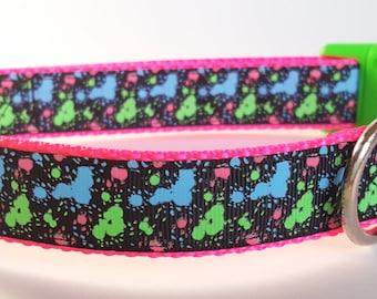 Glowing Neon Paint Splatter Dog Collar / Glow in the Dark Dog Collar