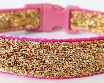 Gold Confetti Sparkle Dog Collar / Glitter Dog Collar / Gold Rainbow /Champagne