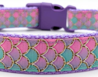 Pink Mermaid Scales Dog Collar / Summer Beach Dog Collar