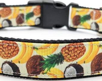 Banana Piña Colada Dog Collar / Summer Dog Collar / Beach Dog Collar