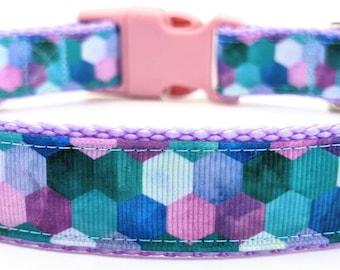 Geometric Mermaid Dog Collar / Mermaid Scales / Summer Beach Dog Collar