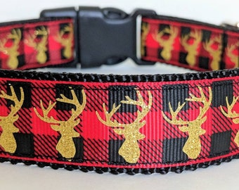 Red Buffalo Plaid with Gold Deer Dog Collar / Christmas Gift / Masculine Hunting Dog