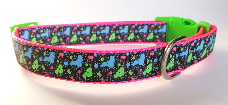 Glowing Neon Paint Splatter Dog Collar / Glow in the Dark Dog image 0